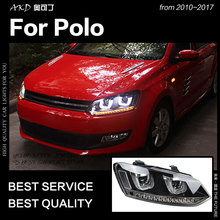 AKD автомобильный Стайлинг для VW Polo фары 2010- Polo светодиодный налобный фонарь светодиодный DRL Hid головной фонарь Ангел глаз биксеноновый луч аксессуары