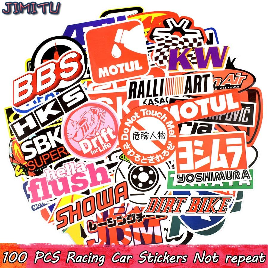 100 PCS Racing Car Stickers Graffiti JDM Car Modification Waterproof Sticker For Motorcycle Bicycle Helmet Motor Suitcase Laptop