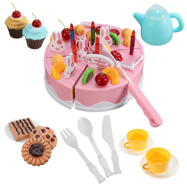 54pcs Kids Kitchen Toys Birthday Cake Cut Toys Pretend Play Plastic