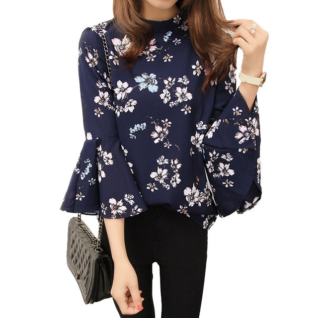 2016 Осень Цветочный Печати блузка шифон Женская Мода Flare Рукавом рубашки женские Топы Blusas Femininas блузка для офиса