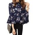 2016 de otoño de flores de gasa blusa de las mujeres tops blusas camisa señoras de las mujeres de oficina blusa de la manera coreana de manga flare chemise femme