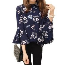 2018 Summer Floral Chiffon Blouse Women Tops Flare Sleeve Shirt Women Ladies Office Blouse Korean Fashion