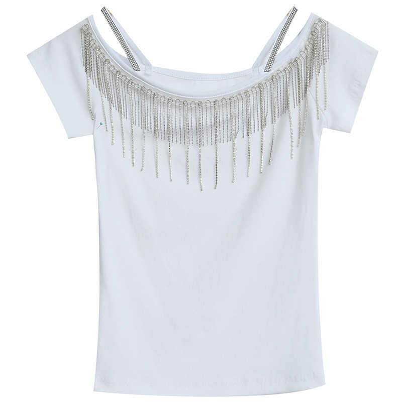 Sexy Off Shoulder T-shirt Vrouwen Zomer Tops Kwastje Zwarte Tee Shirt Femme T-shirt 2019 Fashion harajuku Slash hals Vrouwen kleding