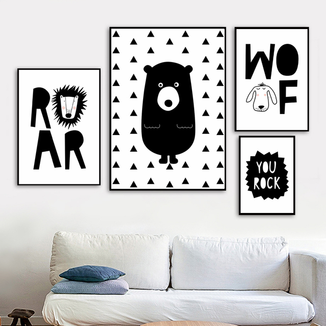 Cartoon Lion Roar Bear Dog Wall Art Canvas Painting Nordic Posters And Prints Black White Wall Pictures Baby Kids Room Decor