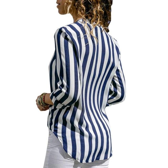 Women Striped Blouse V-neck Long Sleeve Blouses Shirts Casual Tops Work Wear Chiffon Shirt Plus Size Blusas Mujer De Moda 2020 4
