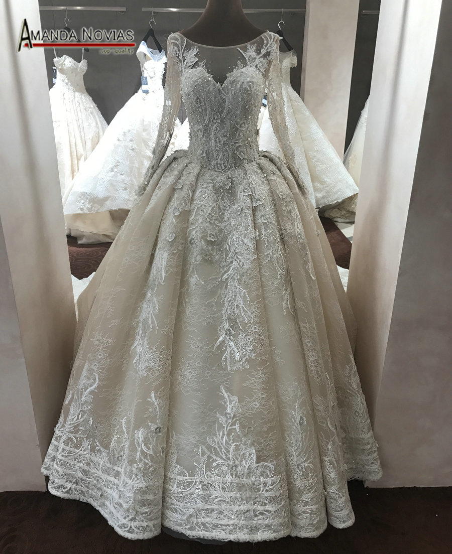 2017 champagne color wedding dress with long sleeves in for Champagne colored wedding dresses with sleeves