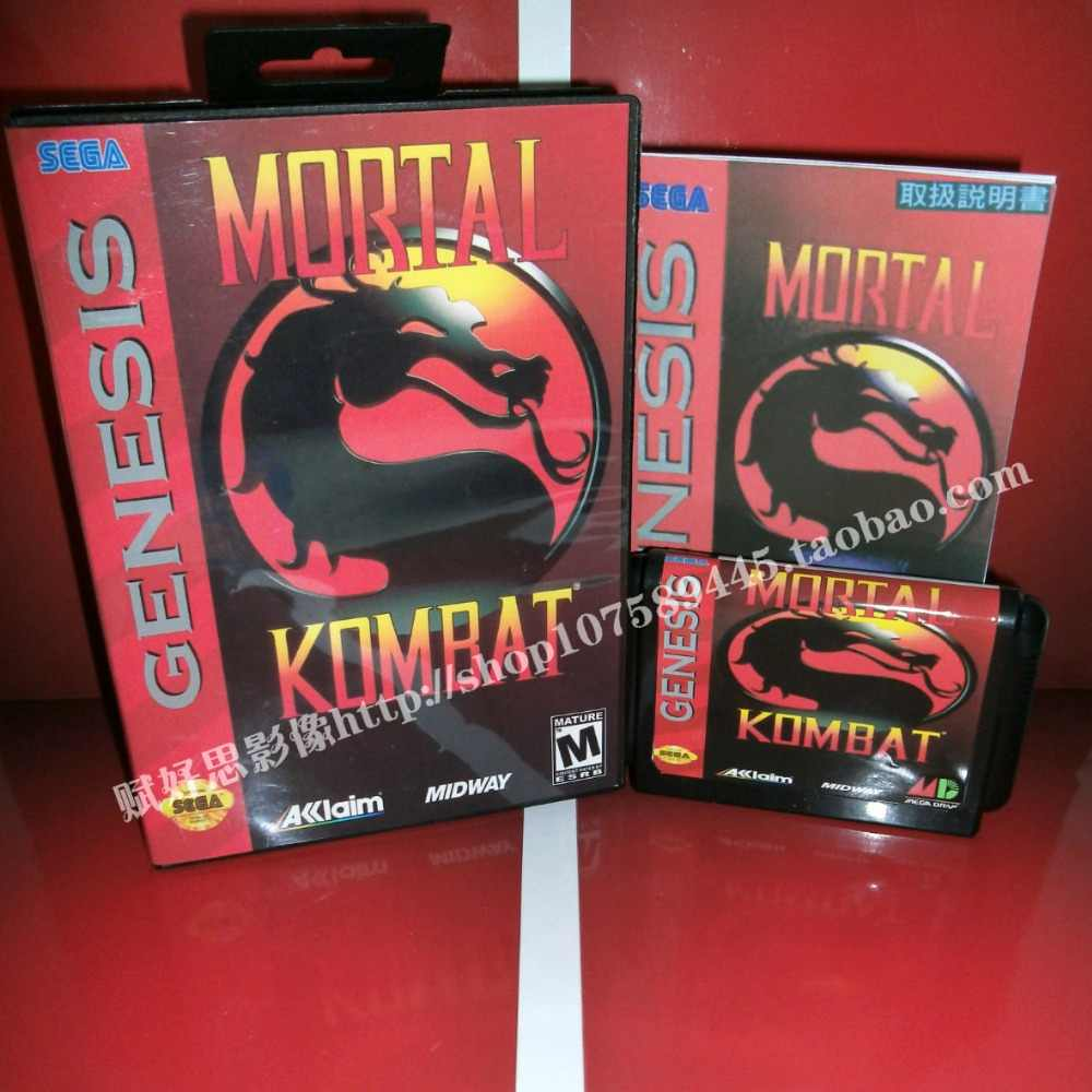 Mortal Kombat Game cartridge with Box and Manual 16 bit MD card for Sega Mega Drive for Genesis
