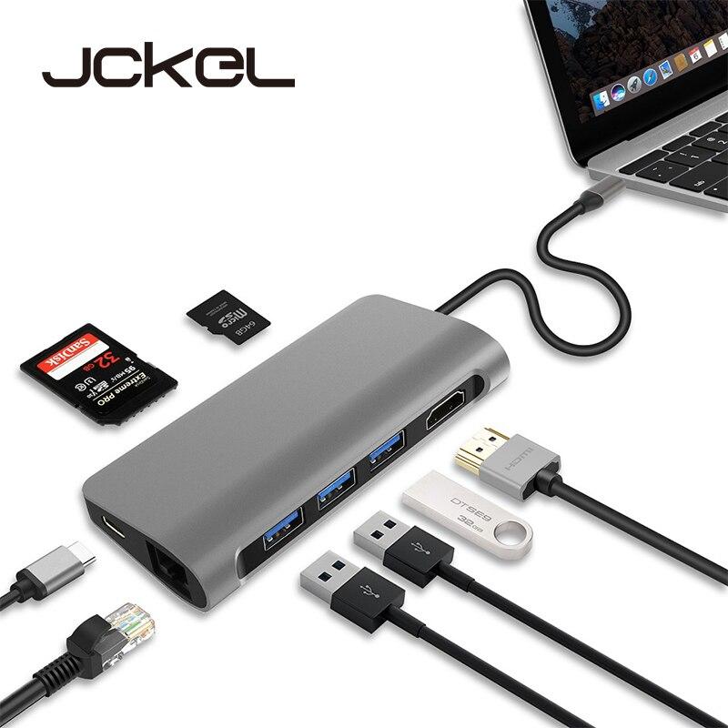 JCKEL USB C 3 1 Dongle HDMI 4K Ethernet LAN USB 3 0 PD SD TF