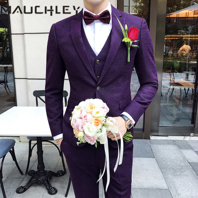 Wedding Suits for Men Dress Purple Groom Suit 3 Pieces Jacket Vest Pants Tuxedo Terno Masculino Slim Fit Design 2018 Mauchley