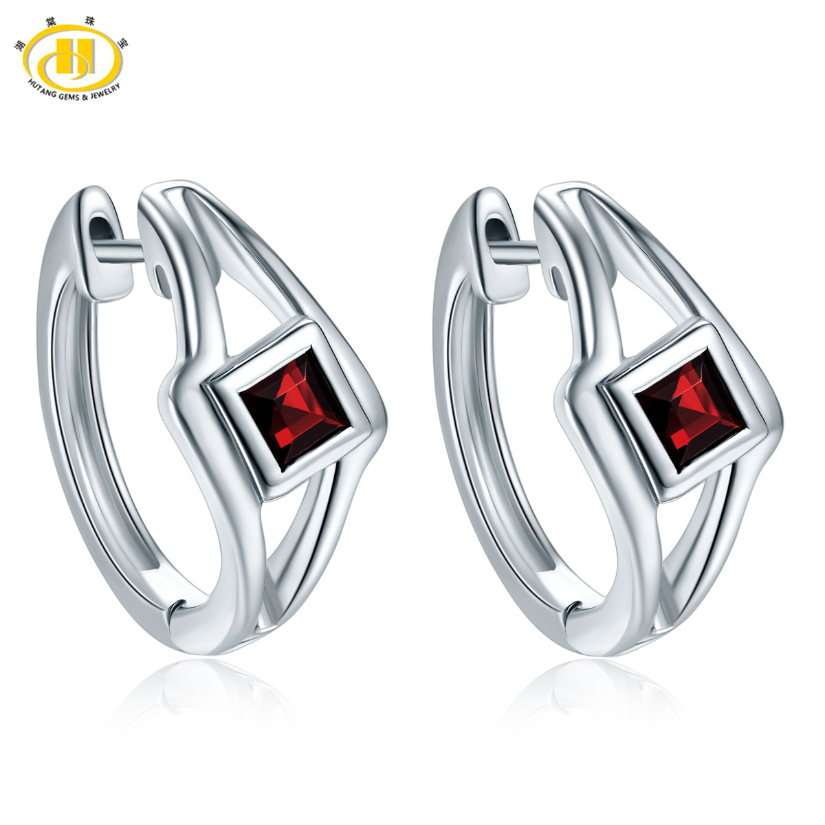 Hutang New Design Trendy Stlye Authentic 925 Sterling Silver Natural Garnet Hoop Earrings Gemstone Fine Jewelry Women's Earrings