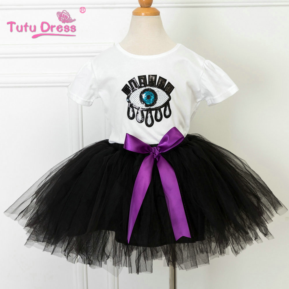 2017 New Children Girls Summer T-shirt+Tutu Skirt Cartoon Eye Tops&T-shirt Clothes Set Kids Skirt For 2-12 Years tec1 12709 75w semiconductor refrigeration part