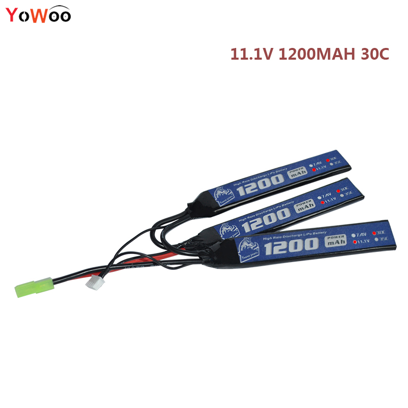 YOWOO High Rate Discharge AKKU RC Lipo 3s Battery 11.1V 1200mAh 30C Max 60C for Short Stick Airsoft Gun AK Type Mini Tamiya