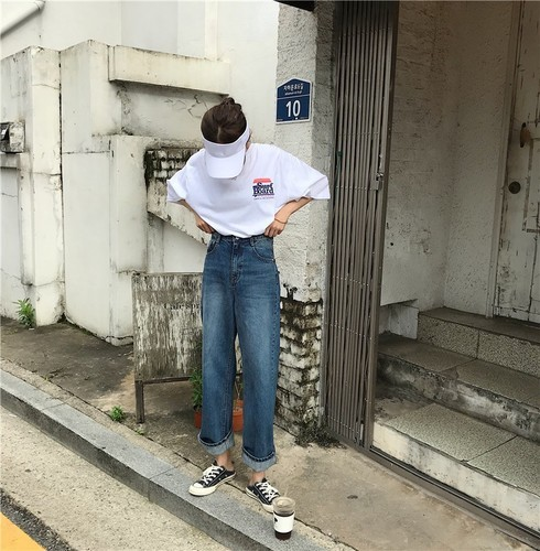 Japanese Harajuku Chic Must Have Loose Street Style Baggy Dark Blue Broad Leg Cowboy Trousers New Fashion Hot Sale Jeans 1