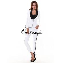(ПРЕДВАРИТЕЛЬНЫЙ ЗАКАЗ!) Eliesaab 2016 Новая Мода Элегантные Женские Бизнес-Белые Брюки Костюмы для Работы(China (Mainland))