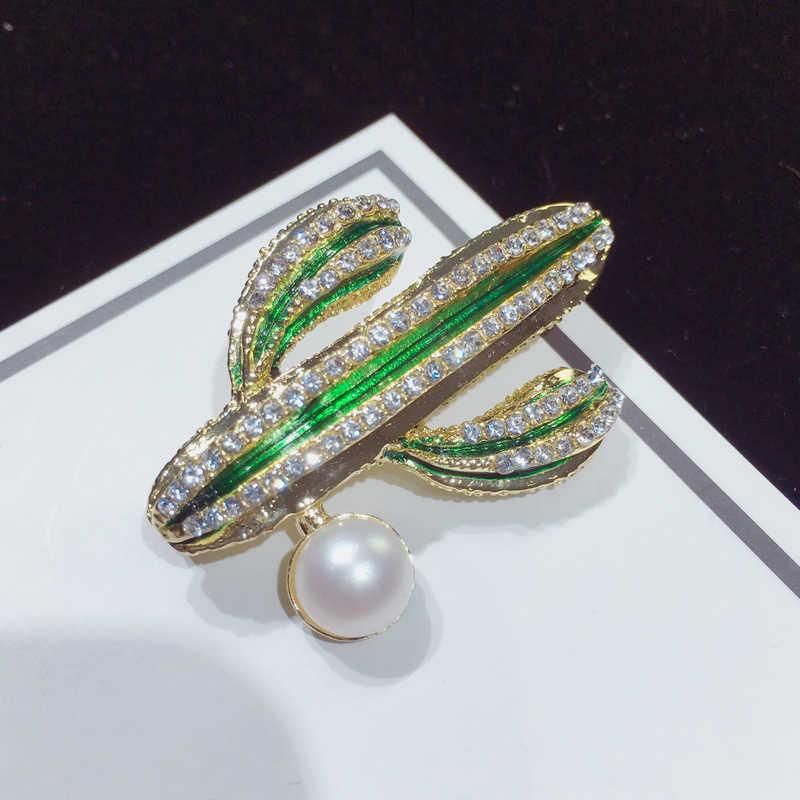 SHDIYAYUN 2019 nuevo broche de perlas de alta calidad, broche de Cactus para mujeres, broche de oro de moda, Pins, joyería de perlas naturales de agua dulce