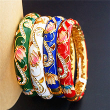 High End Cloisonne Enamel Simple Brand Bracelets For Women rhinestone Fashion  Colorful Bangles Jewelry