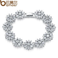 Bamoer HOT Snow Flower Plated Silver Bracelet Jewelry For Women Tennis Bracelet Bangle Gift For Christmas