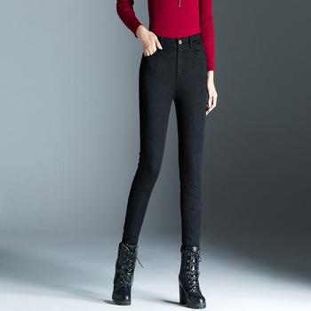 ACRMRAC odzież damska wiosna i jesień dżinsy wysokiej talii dżinsy zima utrzymać ciepłe grube spodnie wąskie dżinsy ołówek spodnie Skinny w dół dżinsy kobiet rok 004 tanie i dobre opinie Kobiety Jeans Bleach Mycia Kamienia Średni Wiskoza Poliester Elastan COTTON Porysowany Tassel Kasetony Plisowana Kieszenie