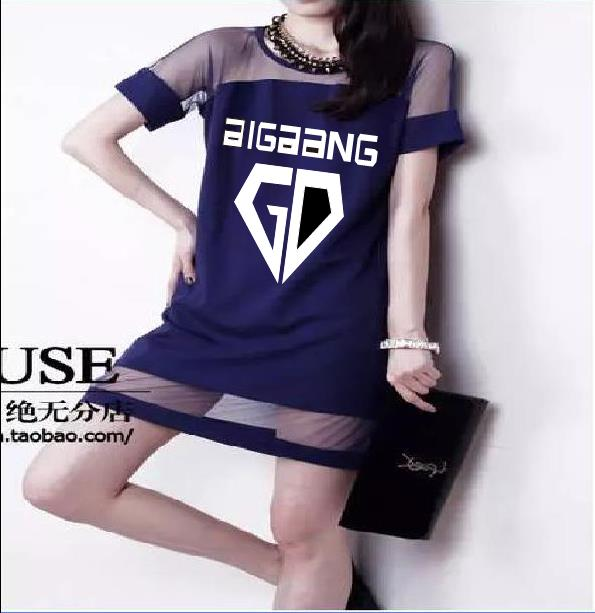 2017 kpop Bigbang members girl summer Gauze dress k-pop GD Sexy black student Womens Clothes short sleeved Straight Dresses