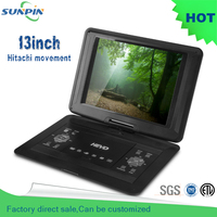 2016 New Arrival Free Shipping 13 Inch Blue Portable Dvd Player With Game Function And Misic