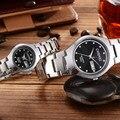 2016 relógio de luxo da marca mulheres homem moda prata diamante relógio calendário de quartzo amante relógios orologi donna relogio feminino