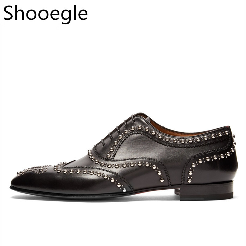 Black Leather Men Dress Shoes Rivets Lace Up Loafers Men Driving Flats Business Wedding Dress Shoes zapatos hombre