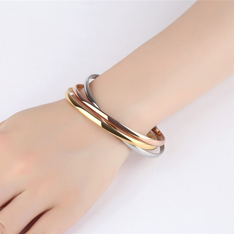 bracelets sterling bangle tricolor gold delivery bracelet t rose bangles time product silver double