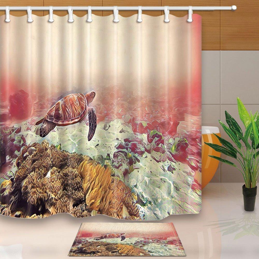 Bathroom Decor Waterproof Fabric Shower Curtain Liner Doormat Set Funny Tortoise