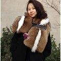 Real Natural de piel de mapache bufanda del mantón chales de colores de moda caliente de imagen real de piel scaves