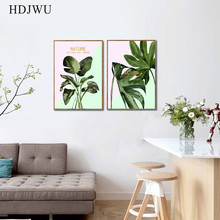 Nordic Art Home Decor Canvas Painting Green Plant Leaf Printing Wall Poster for Living Room  AJ0084
