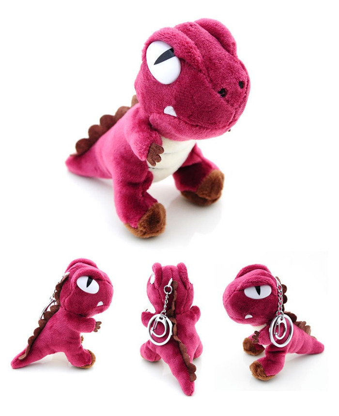 Cute Small Tyrannosaurus Plush Doll Key Ring Silver Chain Woman Bag Charms Pom Pom Dinosaur Toy Keychain Man Trinket Party Gift (7)
