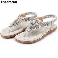 Women Sandals With Strap Flower Shoes Flats Open Toe Soft Sole Flip Flops Summer Beach Slippers
