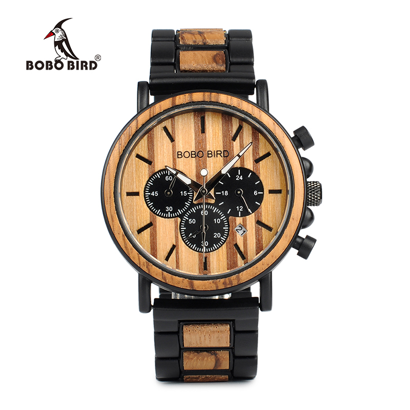 BOBO BIRD P09 Wood and Stainless Steel Watches Luminous Hands Stop Watch Mens Quartz Wristwatches in Wooden Box dropshipping