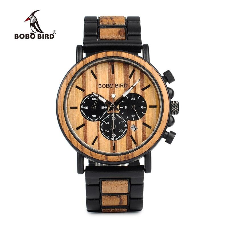 BOBO pájaro P09 madera y acero inoxidable relojes luminoso manos para reloj para hombre de pulsera de cuarzo en caja de madera dropshipping. exclusivo.
