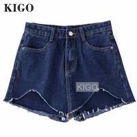 KIGO Summer Mini Jeans Skirts Womens Denim Skirt Mini Jupe Short Hole High Waist Side Bowtie