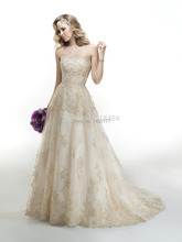 2014 Fall vintage A line strapless tulle lace champagne short train tail Wedding Dresses Bridal Gown Chevonne 4MC923 with beads