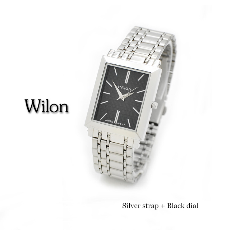 d458f2f6107d Relojes de pulsera originales Wilon 971 marca simple cuadrado hombre pareja  relojes moda coreana hombre mujer reloj de acero inoxidable