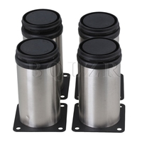 4 Pcs Furniture Cabinet Metal Kitchen Legs Adjustable Stainless Steel