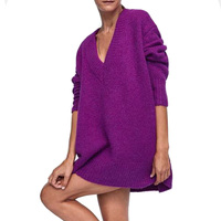 2018 Autumn Winter Women Loose Oversized Pullover Sweater Sexy V neck Knit Purple Long Sweater Long Sleeve Winter Top Pull femme