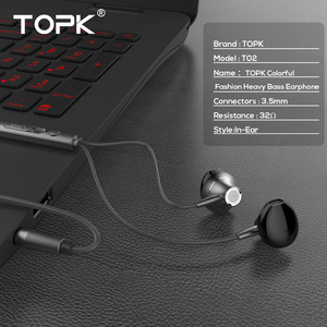 Image 2 - TOPK 3.5mm Heavy Bass Wired Earphone In Ear Earphones With Mic Universal Comforted Earbud Volume Control Stereo Sport Headset