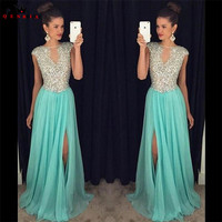 Custom Made Sexy Long Formal Evening Dresses A Line Chiffon Crystal Beaded Blue Pink Party Gowns