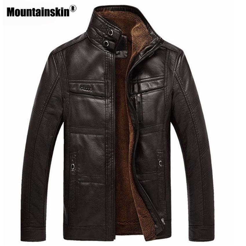Mountainskin Leather Jacket Men Coats 5XL Brand High Quality PU Outerwear Men Business Winter Faux Fur Male Jacket Fleece EDA113 2