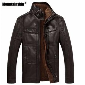 Image 2 - Mountainskin سترة جلدية الرجال المعاطف 5XL العلامة التجارية عالية الجودة بولي Outerwear ملابس خارجية الرجال الأعمال الشتاء فو الفراء سترة الذكور الصوف EDA113