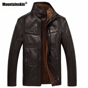 Image 2 - Mountainskin jaqueta couro sintético masculina, casacos de lã alta qualidade pu para uso externo, de negócios no inverno 5xl eda113