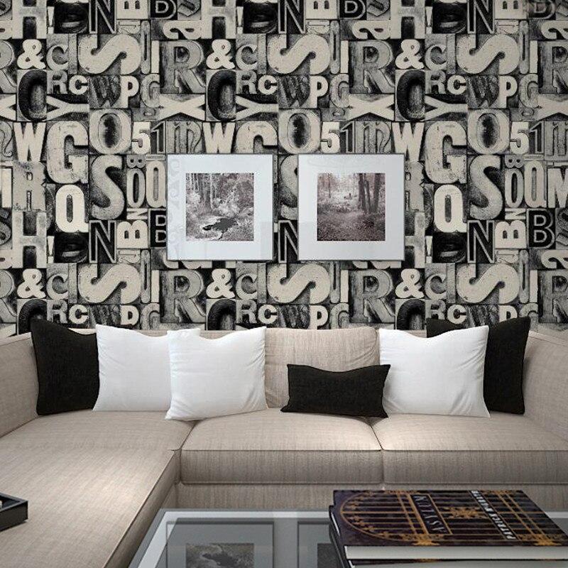 Rétro de mode en trois dimensions caractère 3d alphabet papier peint salon papier peint toile de fond studio café bar stickers muraux