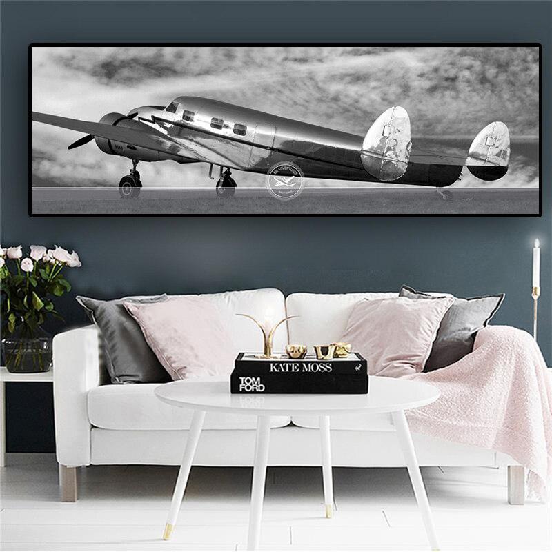 Plane Grunge Vintage Transportation TREBLE CANVAS WALL ART Picture Print