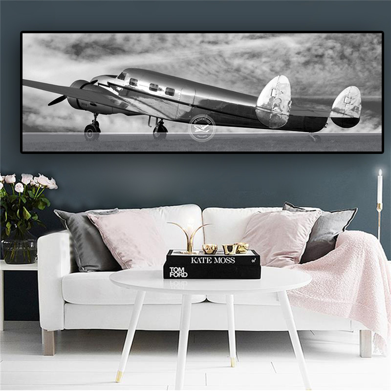 Retro Aircraft Canvas Art Abstract Blank and White Posters and Prints Airplane Painting Wall Picture for Living Room Home Decor image