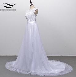 Solovedress A Line Lace Beach Wedding Dress 2018 Scoop Neck White Bridal Gown Tulle Skirt Chapel Train vestido de noiva SLD-228 4