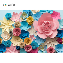 Laeacco Colorful Blooming Handmade Paper Flowers Scene Photography Backgrounds Vinyl Customs Camera Backdrops For Photo Studio