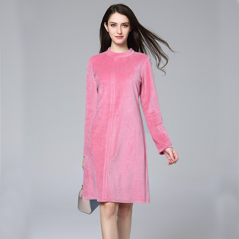 Lguc.H 2018 Winter Dress Trendy Pink Velvet Warm Dress ...